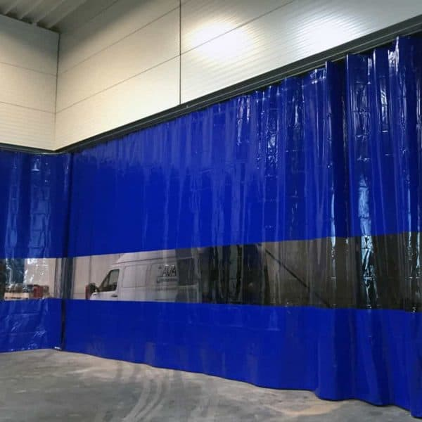 Industrievorhang Kombo Blau & Transparent nach Maß
