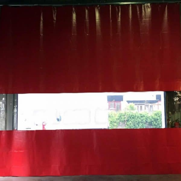 Industrievorhang Kombo Rot & Transparent