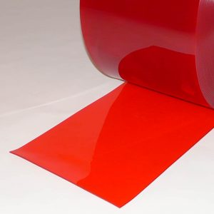 PVC Streifen Vorhang Meterware Rot Transparent 200 mm x 2 mm