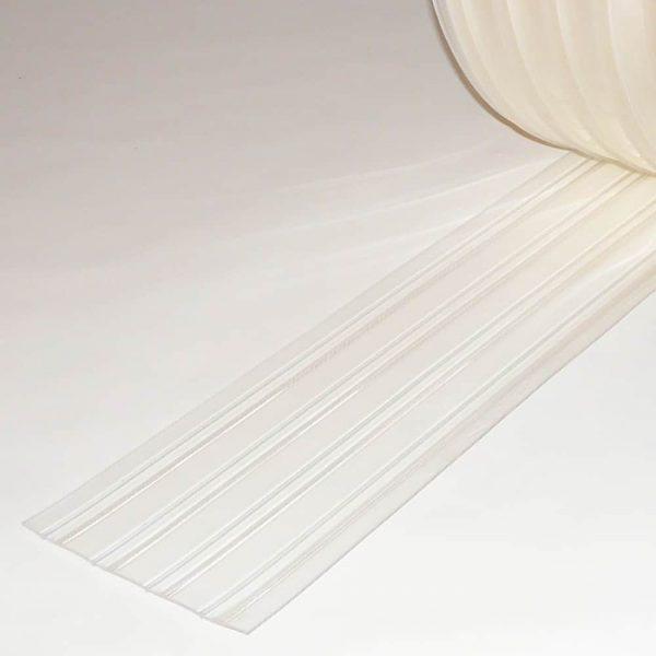 PVC Streifen Vorhang Meterware Tiefkühlzelle Gerippt 200 mm x 2 mm