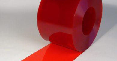 PVC Streifen Rollenware Rot Transparent 50 m x 300 mm x 3 mm