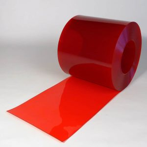 PVC Streifen Rollenware Rot Transparent 50 m x 400 mm x 4 mm