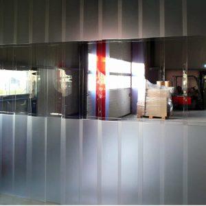 PVC Streifenvorhang Kombo Mattiert Transparent