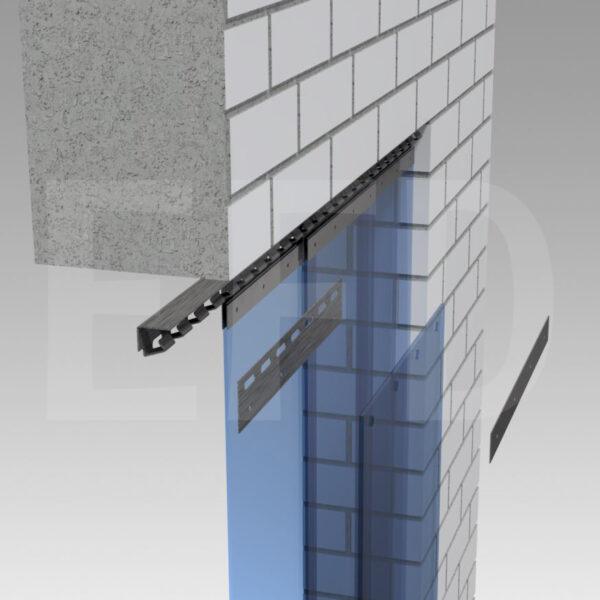 Streifenvorhang-Montage-Edelstahl-Hook-On-Deckenbefestigung