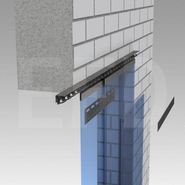 Streifenvorhang-Montage-Edelstahl-Hook-On-Wandbefestigung