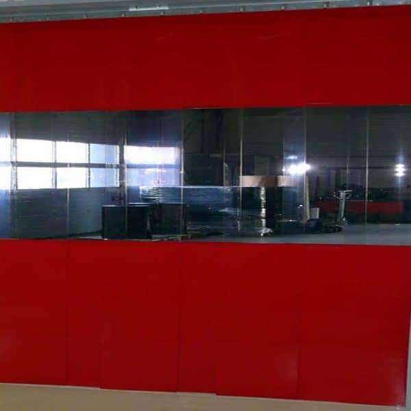 PVC Streifenvorhang Rot Kombo nach Maß