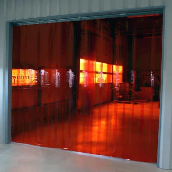 PVC Streifenvorhang Rot Transparent nach Maß